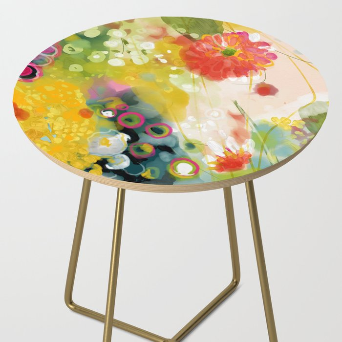 abstract floral art in yellow green and rose magenta colors Side Table