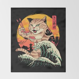 Neko Sushi Wave Throw Blanket