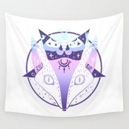 Fox, Moth, Pentagram Pastel Goth Artwork Wall Tapestry