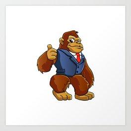 Gorilla in suit. Art Print