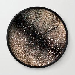 Sparkling GOLD BLACK Lady Glitter #3 #decor #art #society6 Wall Clock