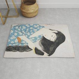 Woman Combing Her Hair (1920) Goyo Hashiguchi Japanese  Rug