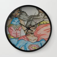 dc comics Wall Clocks featuring DC: Trinity by aka-noodle