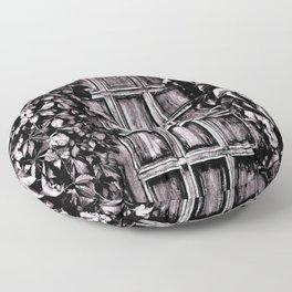 Black White Old Door Floor Pillow
