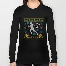 Runner Christmas Ugly Sweater Trail Runner 5k 13.1 Run Long Sleeve T-shirt