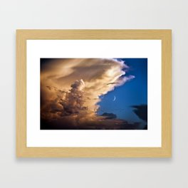 Clouds, Birds, Moon, Venus Framed Art Print