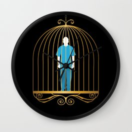 Man in golden bird cage Wall Clock