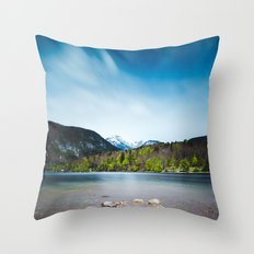 Lake Bohinj with Alps in Slovenia Throw Pillow