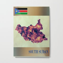 South Sudan Map with Flag Metal Print