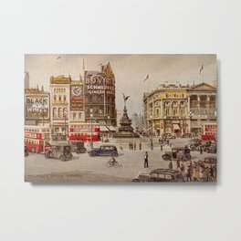 Vintage Piccadilly Circus London Metal Print