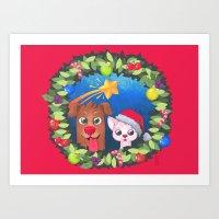 Christmas Friends Art Print