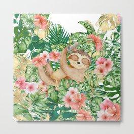 Sloth Art, Cute, Colorful Animal Art Prints Metal Print