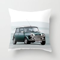 mini cooper Throw Pillows featuring Classic Mini Cooper by TCORNELIUS