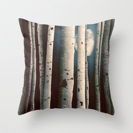 Birch wood at night Throw Pillow