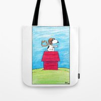 snoopy Tote Bags featuring pilot Snoopy by DROIDMONKEY