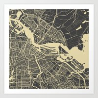 amsterdam Art Prints featuring Amsterdam by Map Map Maps