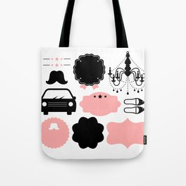 Set of vintage design elements Illustration ( pink and black ) Tote Bag
