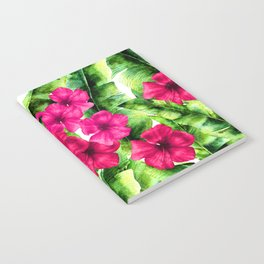 green banana palm leaves and pink flowers Notebook