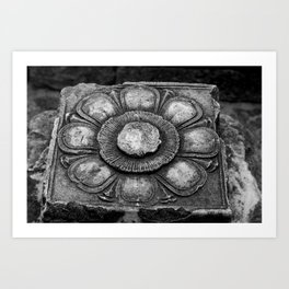 Lotus carved in Cambodia Art Print