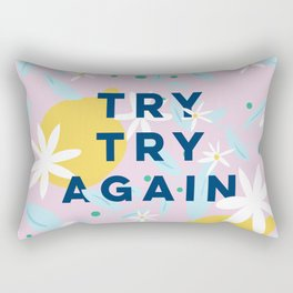 Try Try Again - Motivational Quote Design - Lemons and Flowers Rectangular Pillow