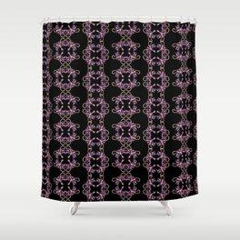 Purple square flowers on black Shower Curtain