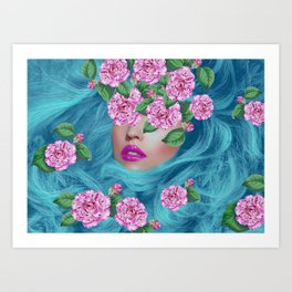 Lady with Camellias Art Print