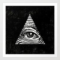 illuminati Art Prints featuring Illuminati by Jenny Joleen