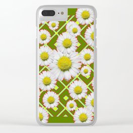 Avocado Color Shasta Daisies Red Pattern Art Clear iPhone Case