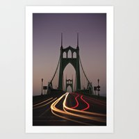 marc johns Art Prints featuring St. Johns Bridge by Cameron Booth