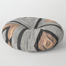 Urban Tribal Pattern No.2 - Concrete and Wood Floor Pillow