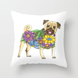 The Pugster Throw Pillow