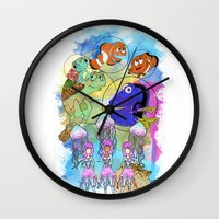finding nemo Wall Clocks featuring Disney Pixar Play Parade - Finding Nemo Unit by Joey Noble