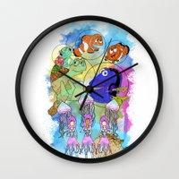 pixar Wall Clocks featuring Disney Pixar Play Parade - Finding Nemo Unit by Joey Noble