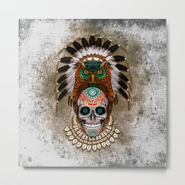 Indian Native Owl Sugar Skull Metal Print