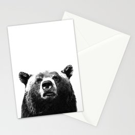 Black and white bear portrait Stationery Cards
