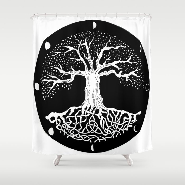 Black And White Tree Of Life With Moon Phases And Celtic Trinity