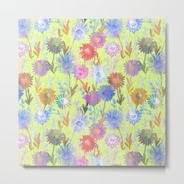 Gillian Floral Lime Metal Print