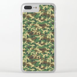 Military Camouflage Pattern - Brown Yellow Green Clear iPhone Case