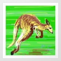 kangaroo Art Prints featuring Kangaroo by wingnang