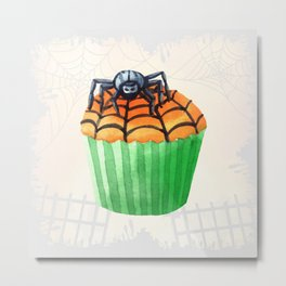 Halloween Cupcake with Spider Decoration Metal Print