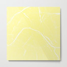 Paris France Minimal Street Map - Yellow on White Metal Print