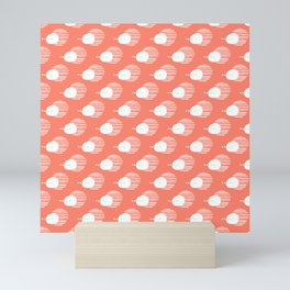 Cool Coral and White Abstract Design Mini Art Print
