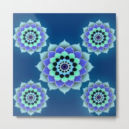 Blue Mandala Design Metal Print