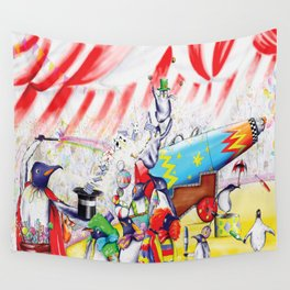 Circus Penguins Wall Tapestry