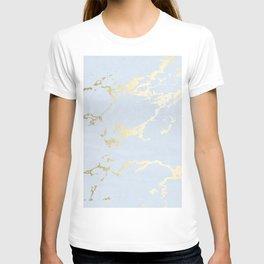 Kintsugi Ceramic Gold on Sky Blue T-shirt