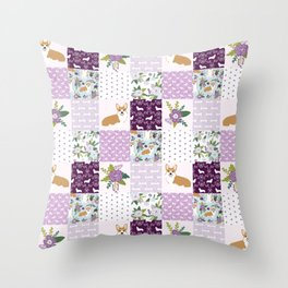 Corgi Patchwork Print - purple ,florals , floral, spring, girls feminine corgi dog Throw Pillow