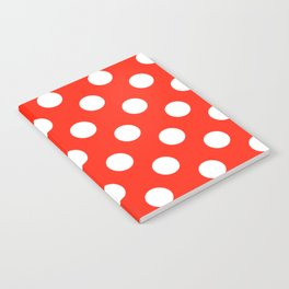 Red (RYB) - red - White Polka Dots - Pois Pattern Notebook