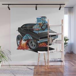 Classic 69 American Muscle Car Cartoon Wall Mural