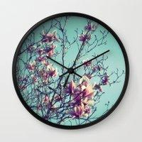 vintage flowers Wall Clocks featuring Vintage Flowers by ALP-Fotografie