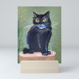 Black Cat. His name is Bayun. The personage from fairytales.The fairytales of this cat are healing. Mini Art Print
